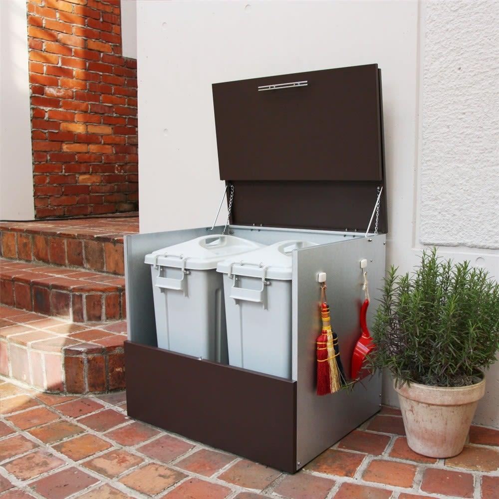 ガルバ製ゴミ保管庫 レギュラータイプ 幅69奥行55cmペール付き