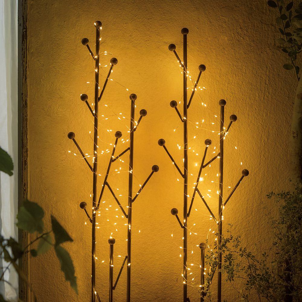 フェアリーソーラーライト120球 2個組 使用イメージ(ア)ゴールド2個 ※お届けはライトのみとなります。