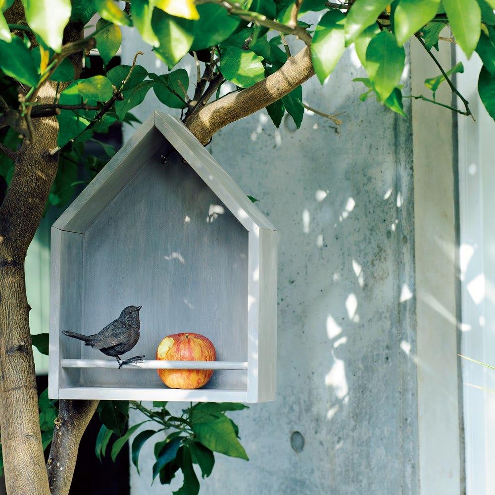 ディノス オンラインショップ北欧風ガーデンシリーズ バードハウス型シェルフ ブルーグレー 【通販】