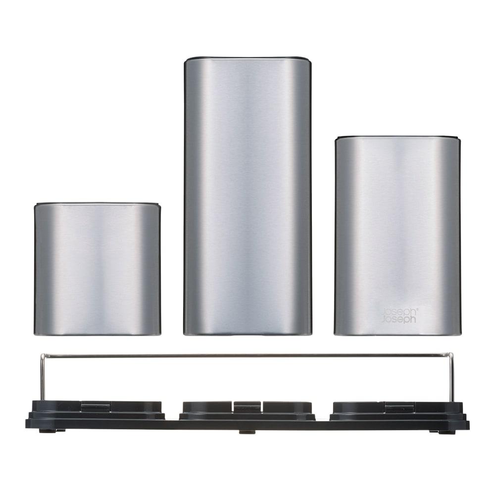 Joseph Joseph/ジョセフ ジョセフ ツールスタンド&まな板セット 3つのサイズの収納は取り外すことができ、お好みの順番に並べ替えが可能。