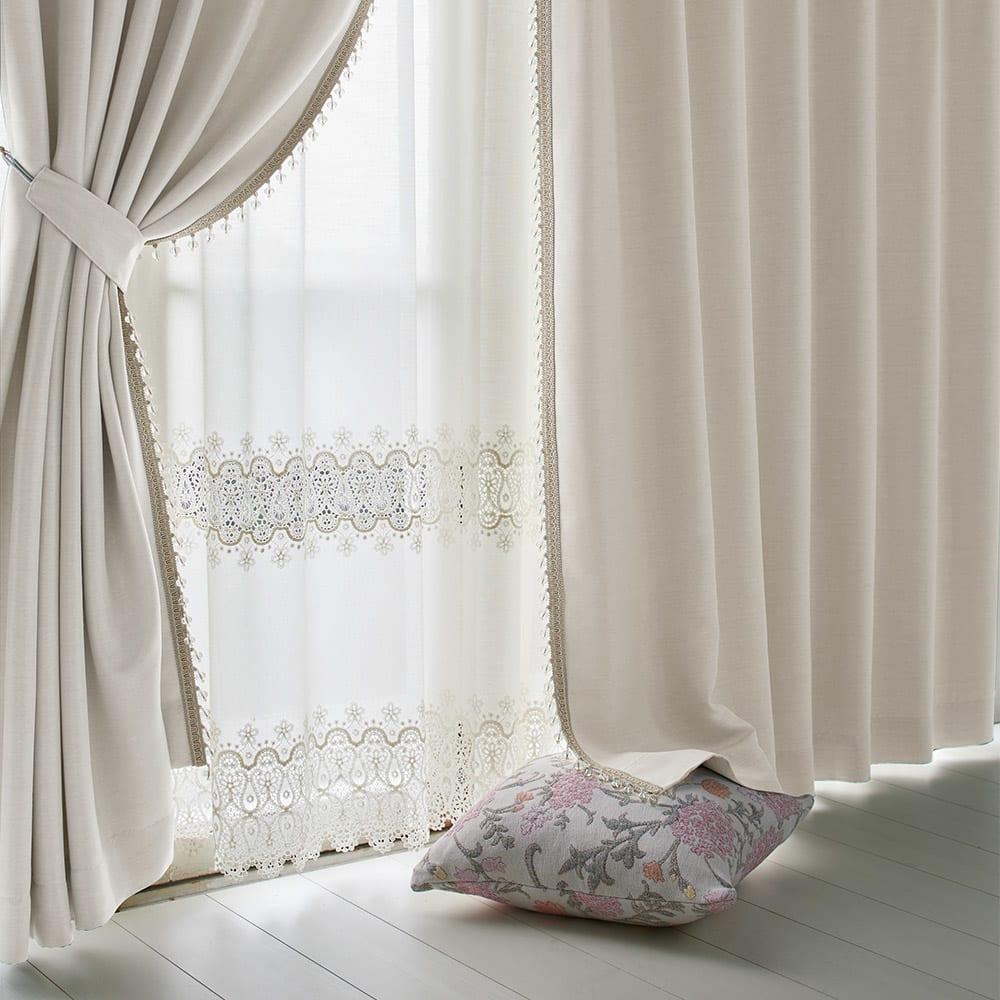 ビーズ付き遮光カーテン 2枚組 幅100×丈178cm H51532