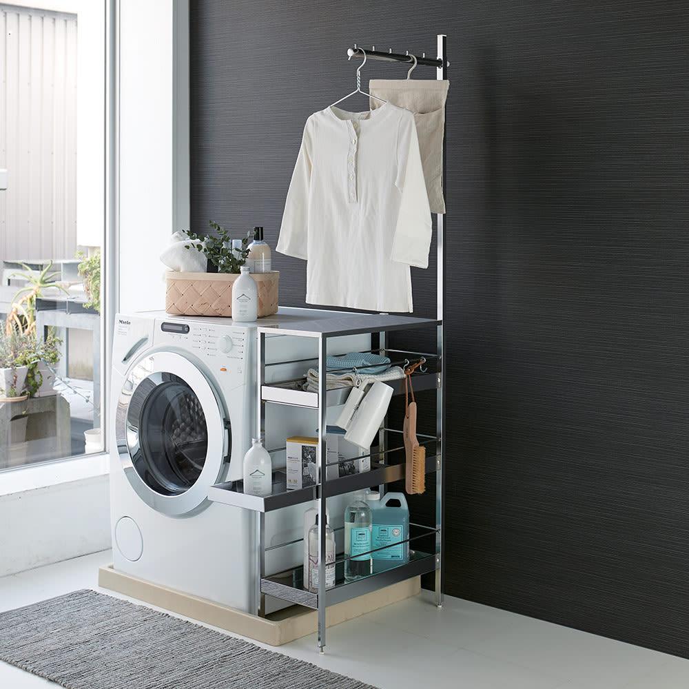 防水パンをまたげるハンガーラック付き 洗濯機横すき間収納ラック 幅25cm H45310