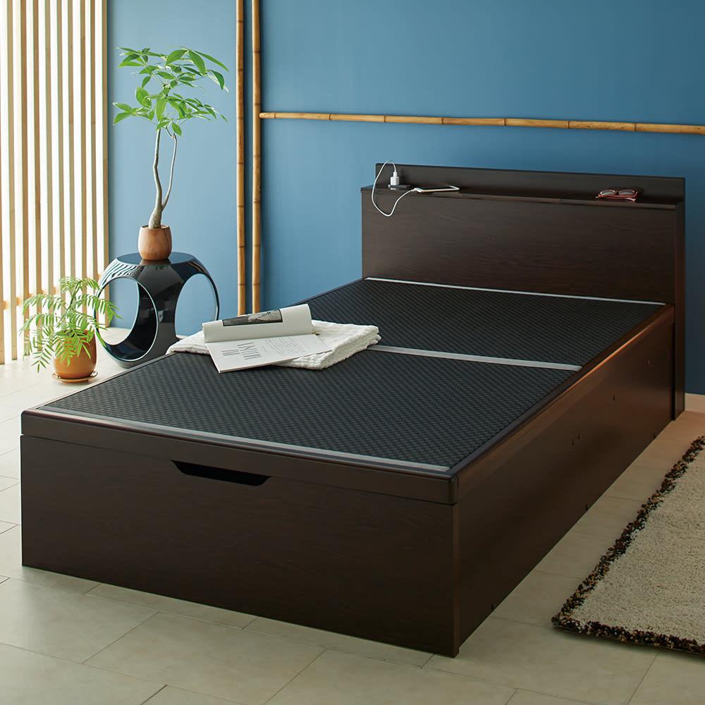 「美草」畳ガス圧収納ベッド 収納棚付きヘッドボードタイプ セミダブル H51804