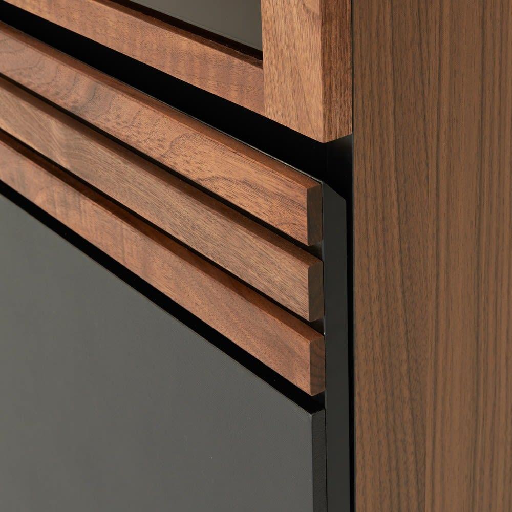 AlusStyle/アルススタイル 隙間収納 ハイタイプ(高さ164.5cm)幅35cm 前面にウォルナット無垢材とレザー調の表面材を組み合わせた高級感あるデザイン。