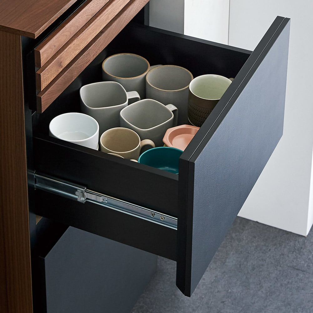 AlusStyle/アルススタイル 隙間収納 ハイタイプ(高さ164.5cm)幅35cm 中引き出しはよく使うカップや小鉢などをすっきりと収納。