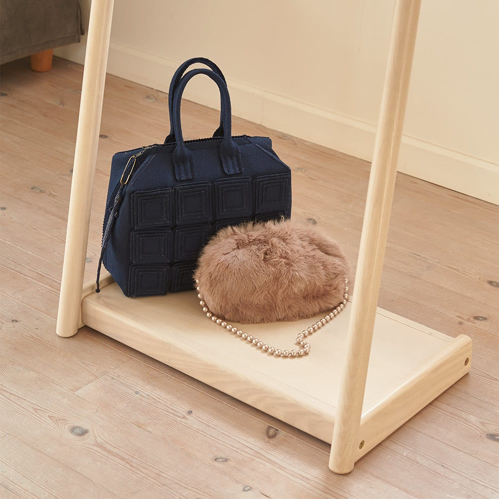 Ridge/リッジ L型天然木ハンガースタンド 幅40cm ベースはバッグのベルトなどが引っ掛かりにくい板材仕様。