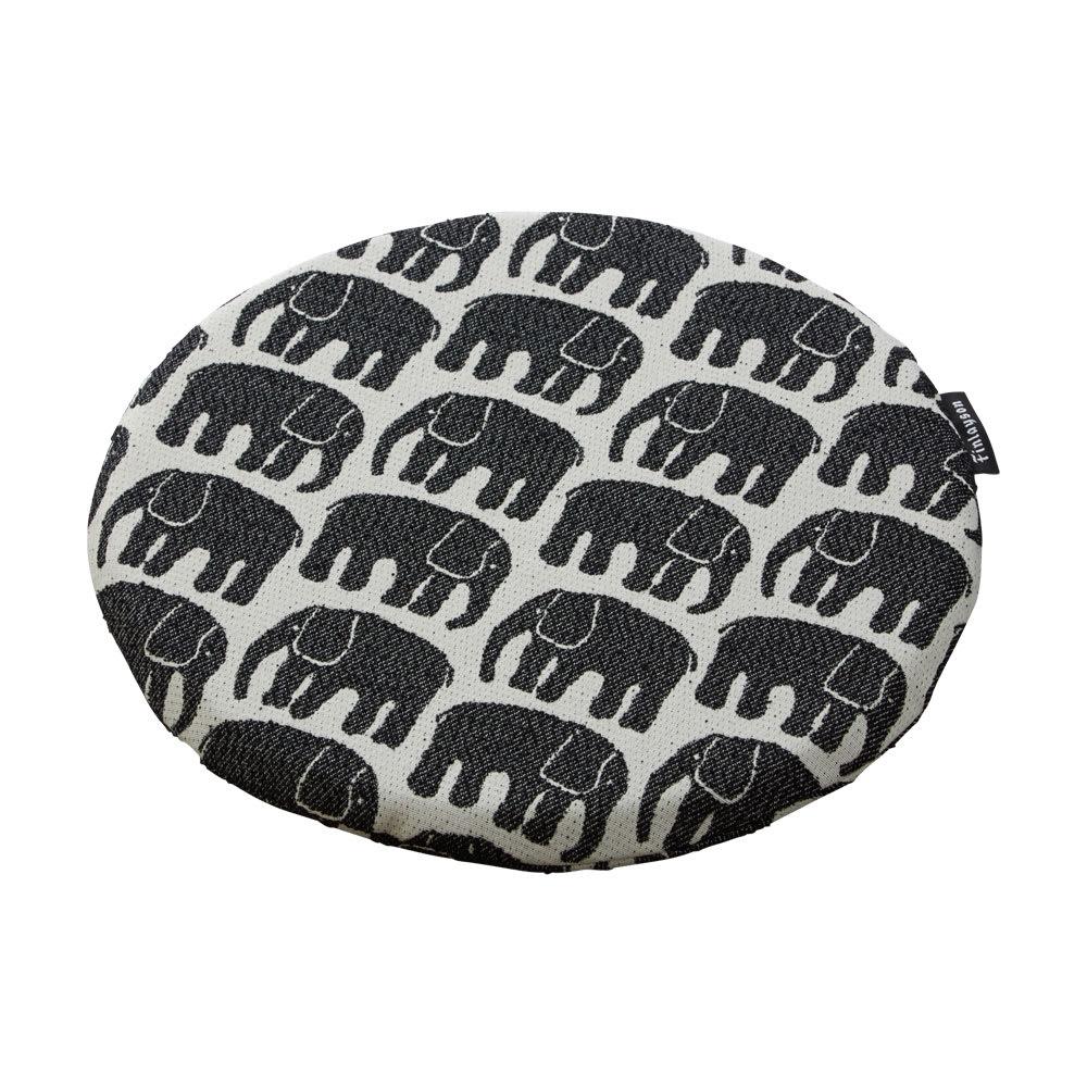 フィンレイソン ジャガード織チェアクッション 丸型・径36cm (ア)エレファンティ・ブラック