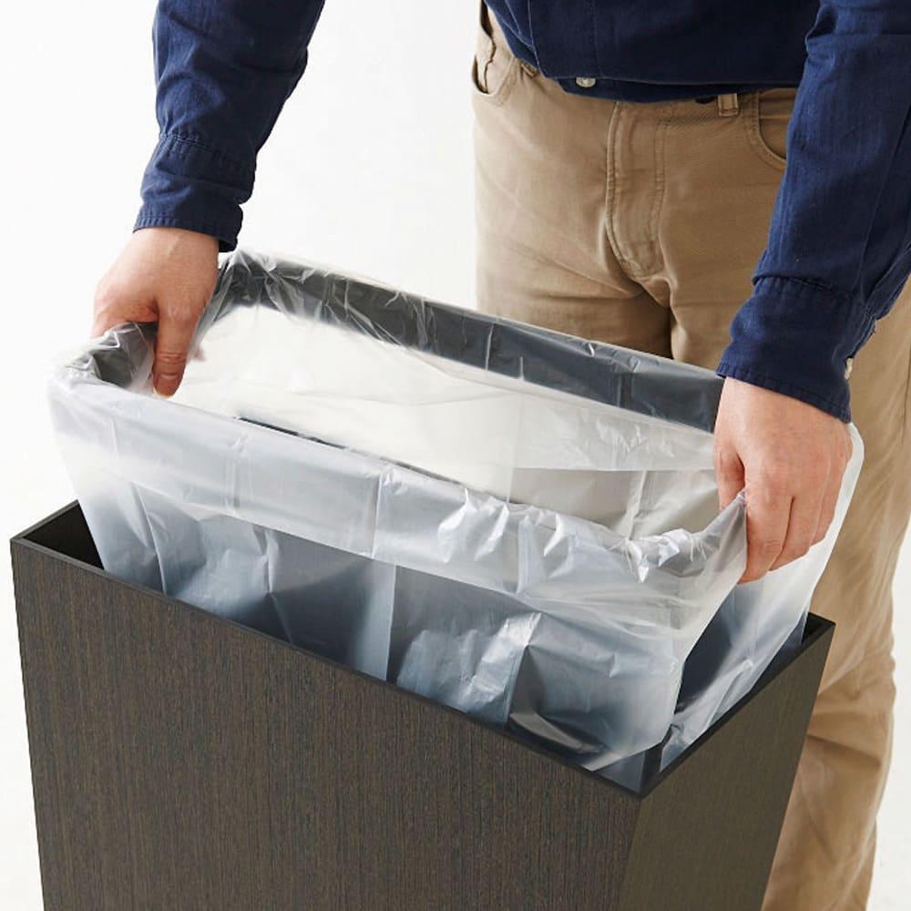 橋本達之助工芸/紀州檜天然木リビングダストボックス容量45L(2分別対応可能) ゴミ袋ストッパー付き。2分割も可能。