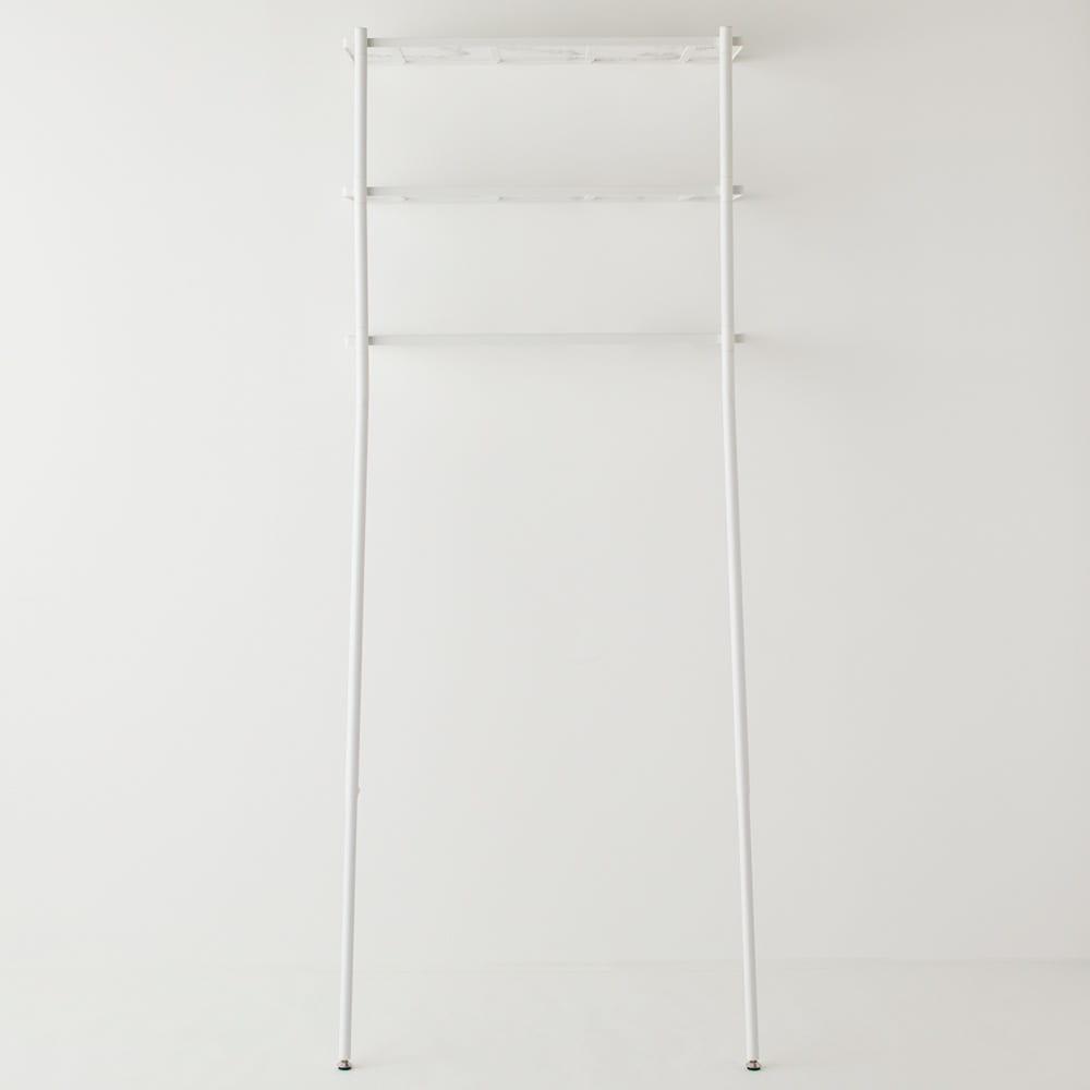 Galliard/ガリアード 立て掛けランドリーラック 棚3段 (イ)ホワイト 女性でも簡単設置できる軽さも魅力。