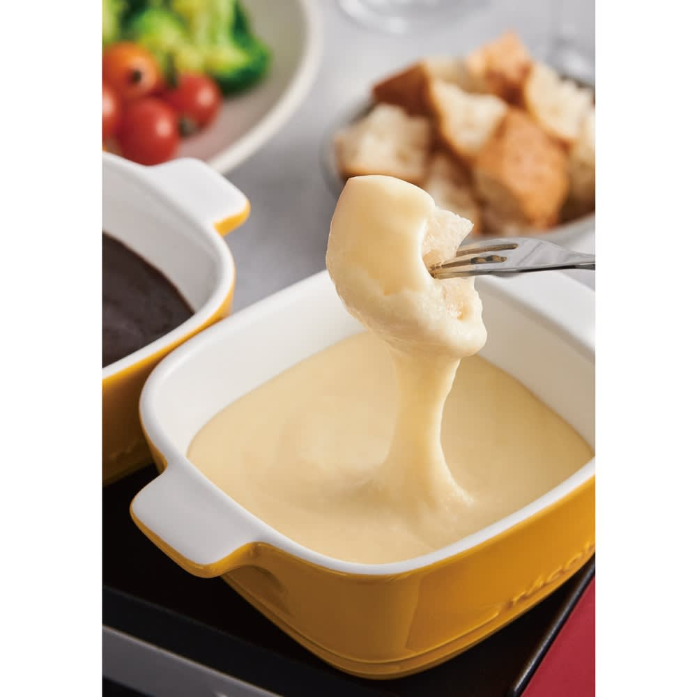 recolte(レコルト)/ ラクレット&フォンデュメーカーメルト チーズフォンデュが楽しめる、陶器のココットが2個ついています