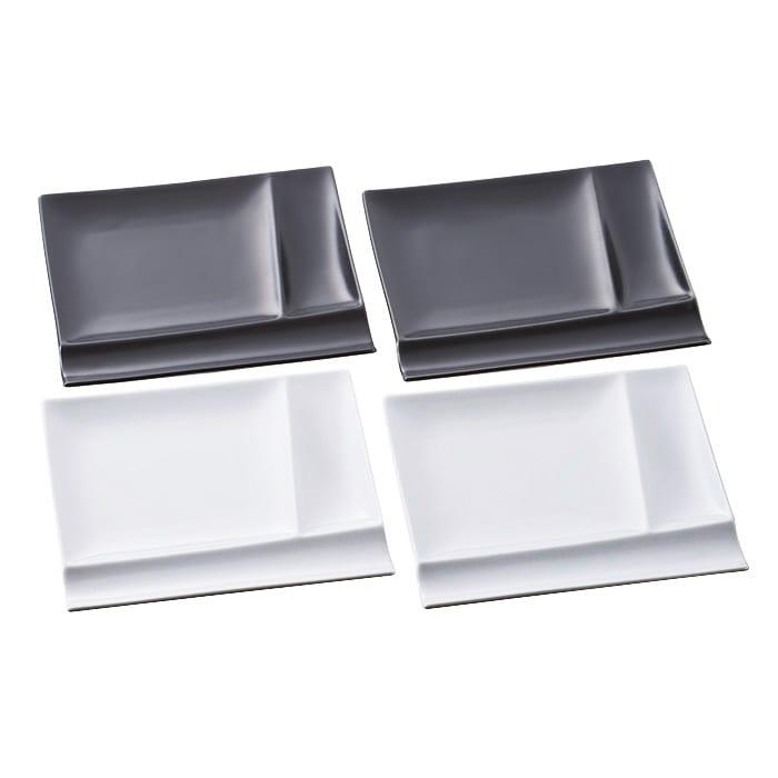 お箸が置けるパレット皿 幅17cm 4枚組 (オ)ホワイト2枚+ブラック2枚