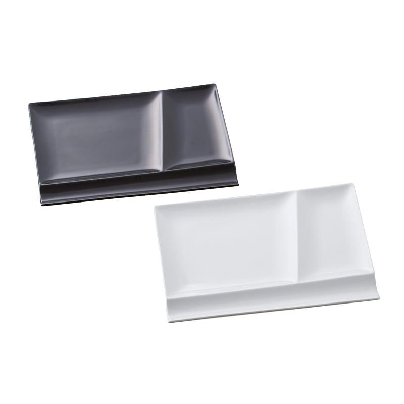お箸が置けるパレット皿 幅24cm 2枚組 (オ)ホワイト1枚+ブラック1枚