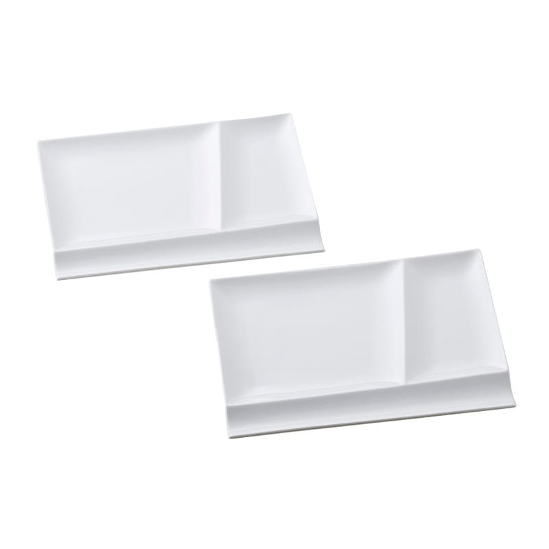 お箸が置けるパレット皿 幅24cm 2枚組 (ア)ホワイト2枚
