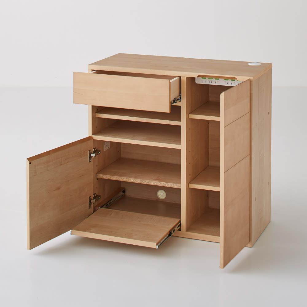 Sabio/サビオ リビング家電収納 サイドボード 幅89.5cm 扉オープン時