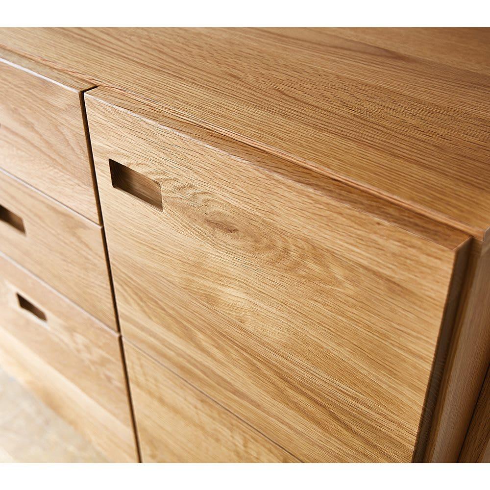 leiria/レイリア デスクシリーズ サイドチェスト 幅48cm(オーク) 前面はオーク天然木の無垢材を贅沢に使用。斑(ふ)と呼ばれる杢目が上質の証しです。