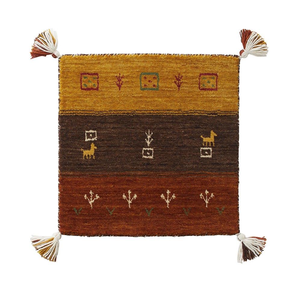Gabbeh/ギャベ インド製 ウールマット ブラウングラデ