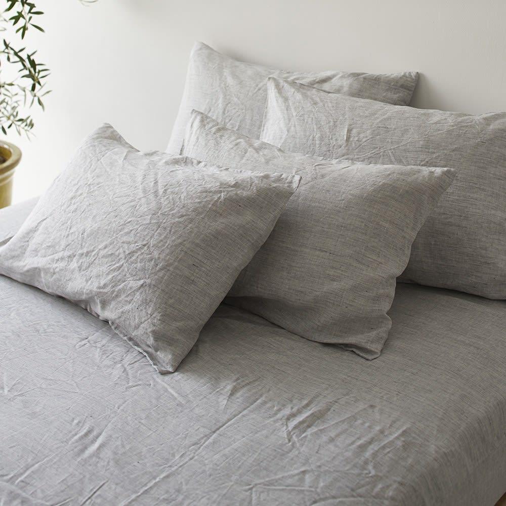 French Linen/フレンチリネン カバーリング ベッドシーツ メランジ (ア)グレー ※お届けはベッドシーツです。
