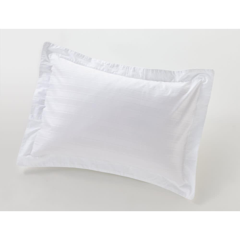 Sateen/サティーン ストライプ 超長綿カバーリング ピローケース(2枚組) ホワイト