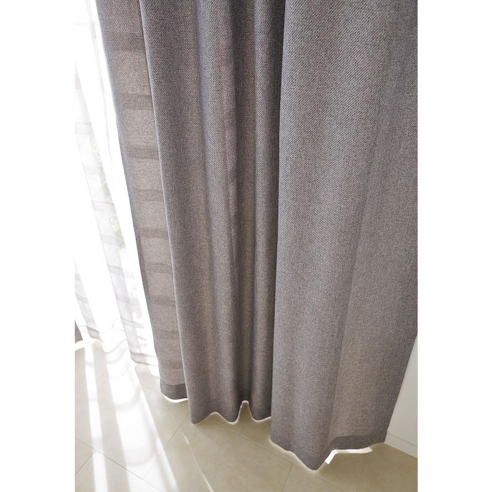 ドレープが美しいツイード調 100サイズカーテン 幅130cm(2枚組) グレーベージュ