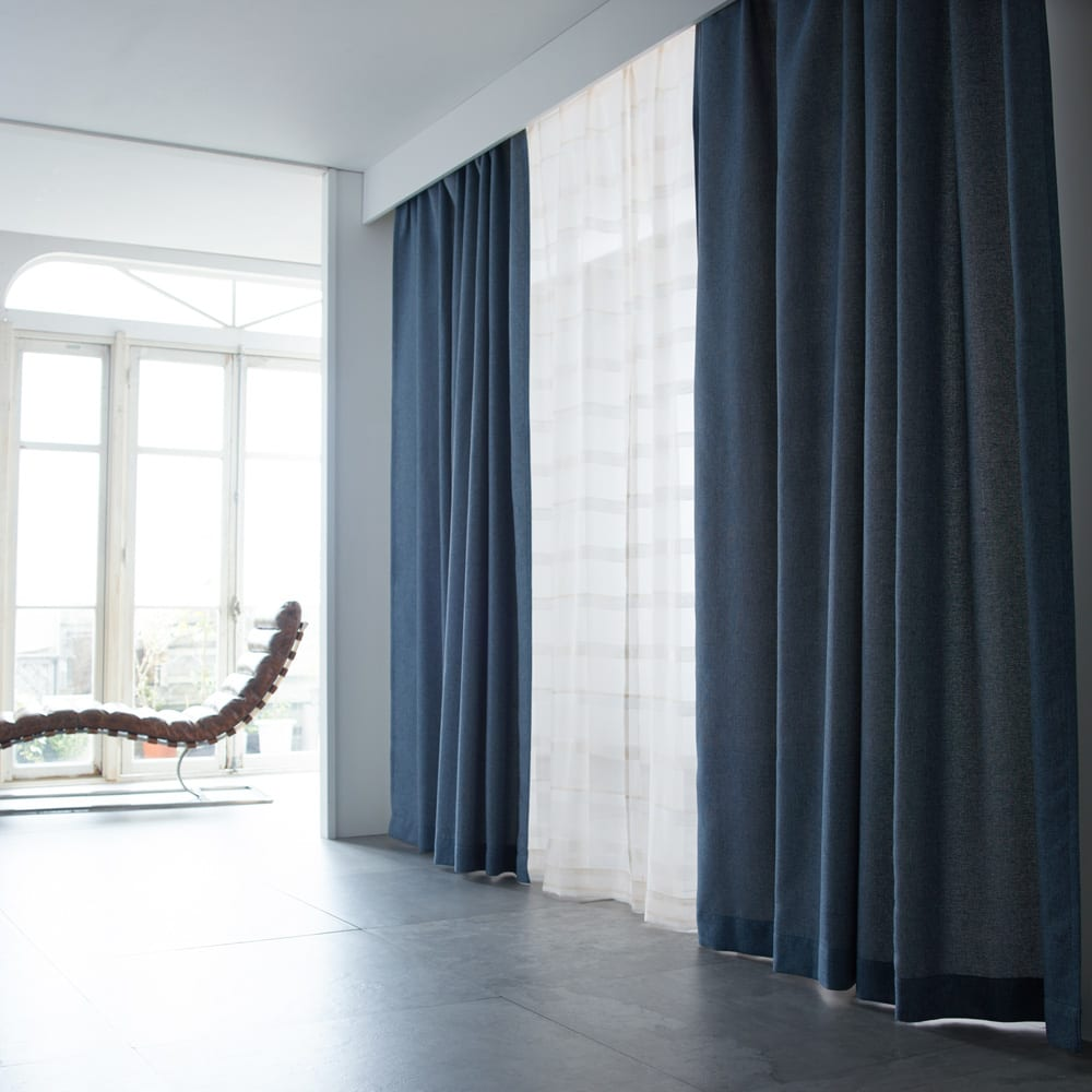 ドレープが美しいツイード調 100サイズカーテン 幅200cm(1枚) ブルー ※お届けはカーテンです。