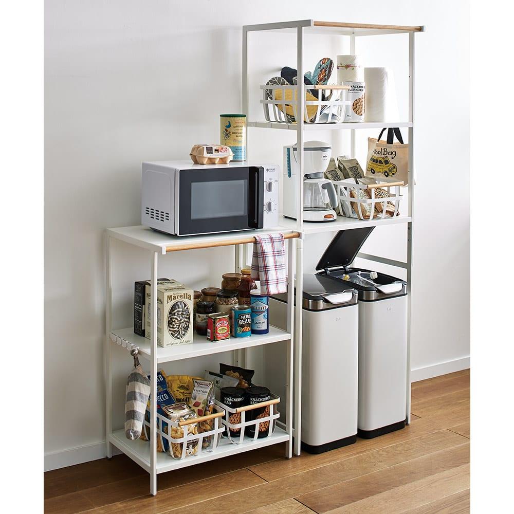 Tower/タワー キッチンラックシリーズ キッチンラック 3段 (画像内 左)キッチン家電や小物をまとめて収納できる、キッチン収納棚。