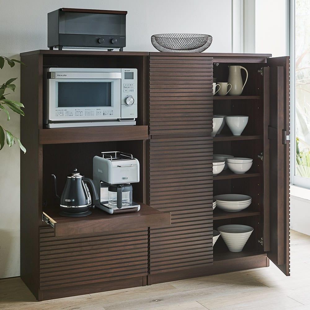 Gulf/ガルフ コンパクトキッチン キッチンキャビネット・食器棚 幅80高さ130.5 コーディネート例