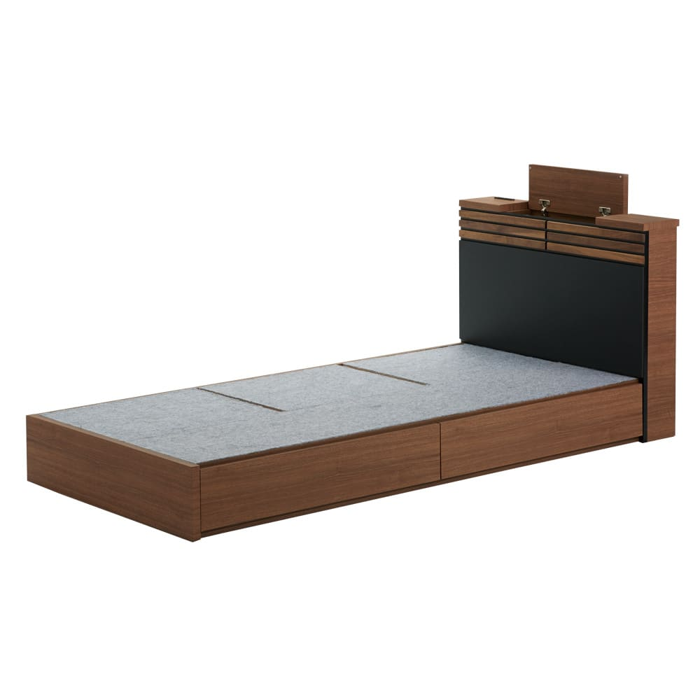AlusStyle/アルススタイル ベッドシリーズ ベッドフレームのみ ヘッドボードにも収納付きです。