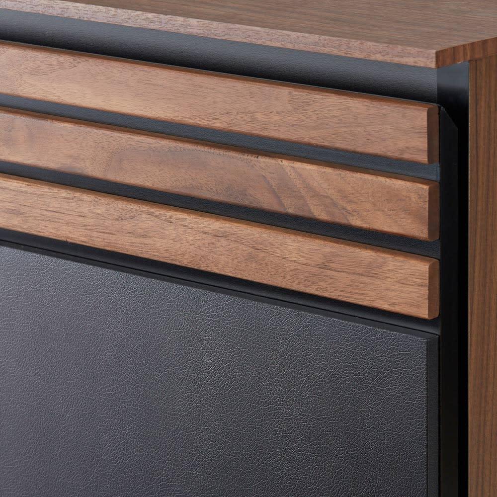 AlusStyle/アルススタイル ベッドシリーズ ユーロトップポケットコイルマットレス付き 前面にウォルナット無垢材とレザー調の表面材を組み合わせた高級感あるデザイン。