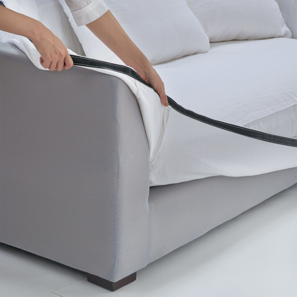 Etherial/エザリアル リネン ソファ 幅135cm(肘なし)(2人掛け) カバーは汚れたら取り外してドライクリーニングが可能。いつも清潔にお使いいただけます。