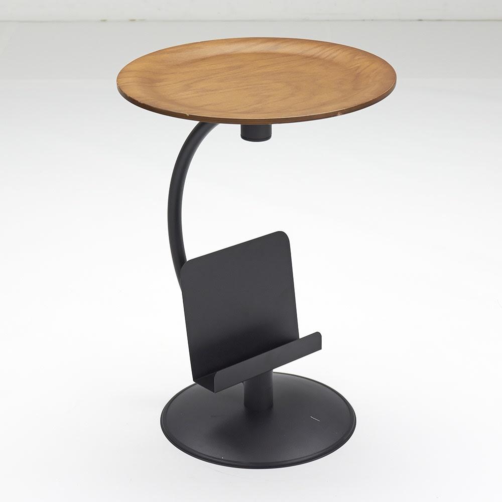ブックラックソファサイドテーブル ウォルナット ※天板サイズ:直径45cm厚み1cm