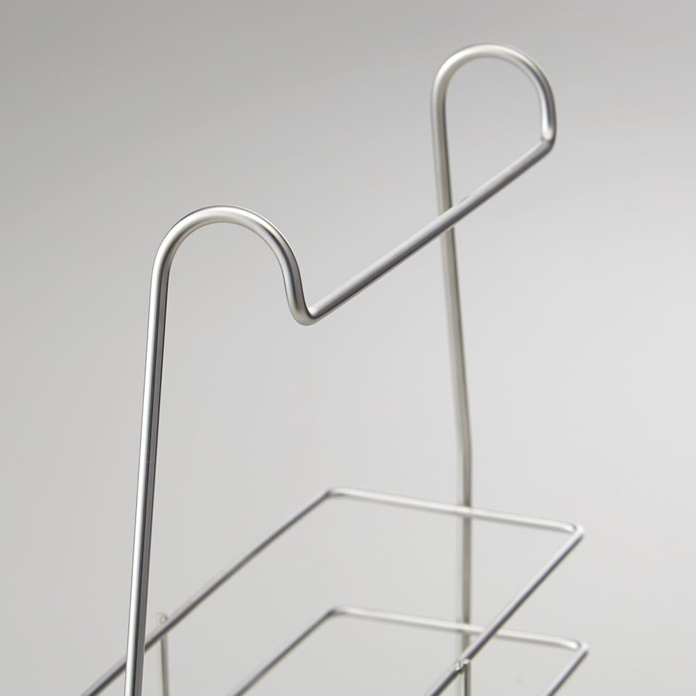 ステンレス製 シャンプーバスケット /浴室用シャンプーラック 横揺れを防止する幅広のフック