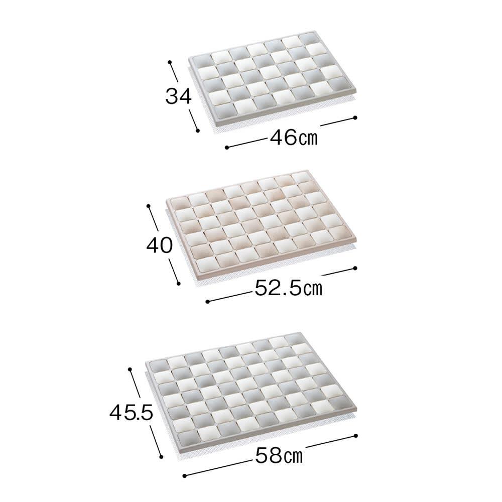 karari/カラリ タイル 珪藻土バスマット ご自宅のスペースに合わせてSMLの3サイズをご用意。