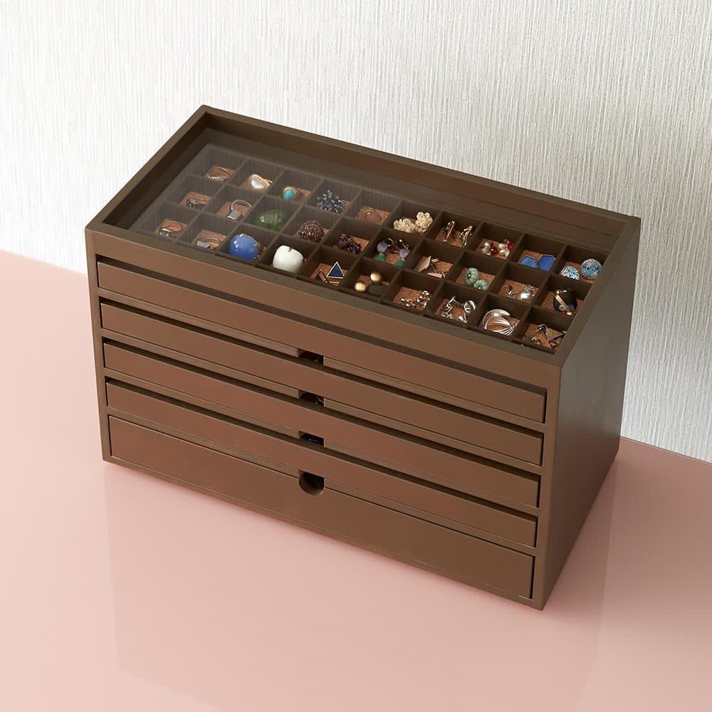 ディスプレイジュエリーボックス 幅40 cm (イ)ブラウン