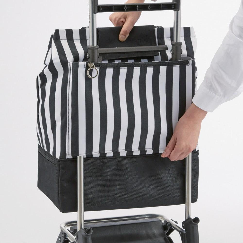 ROLSER/ロルサー ショッピングカート 4輪カート+保冷・保温付きバッグ バッグはスリット部に通して面ファスナーで固定。(使い始めは固いです)
