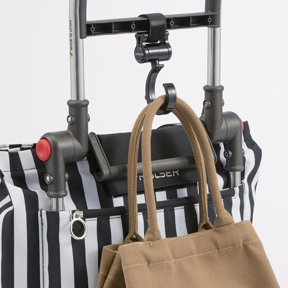 ROLSER/ロルサー ショッピングカート 4輪カート+保冷・保温付きバッグ 手提げが掛けられるフック。