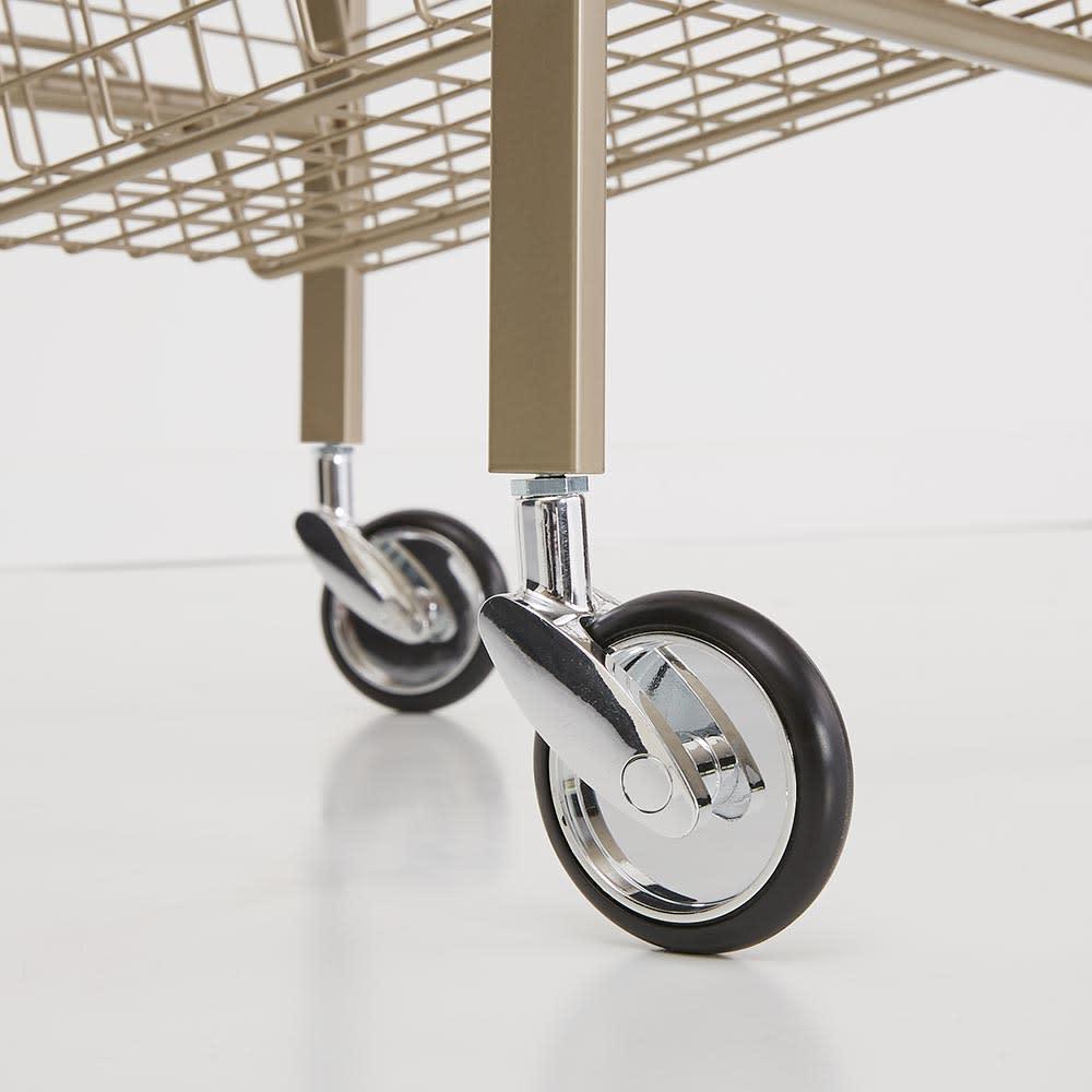 Lueur/リュエール シャンパンゴールドランドリー バスケットワゴン 4段 キャスター付きで移動も簡単です。