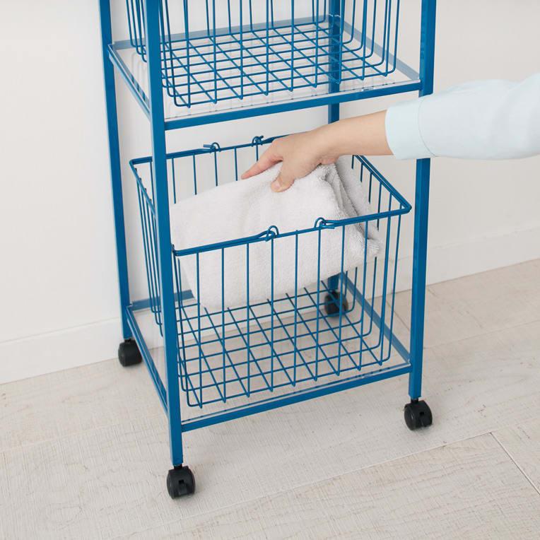 Ventol/ヴェントル ランドリーカート バスケット2個 洗濯物が入れやすい余裕のある高さ。キャスターで干し場への移動もラク。