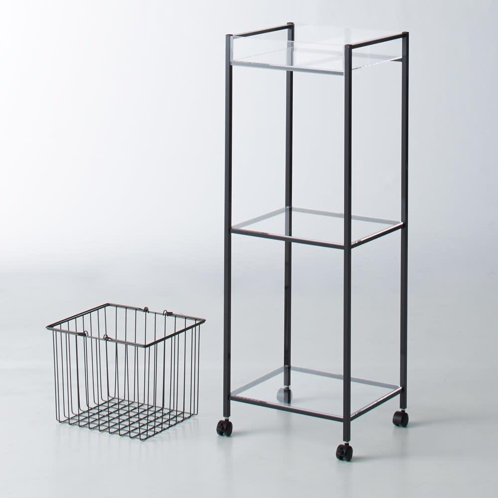 Ventol/ヴェントル ランドリーカート バスケット2個 チャコール  バスケットと棚はそれぞれ別々でも使用できます