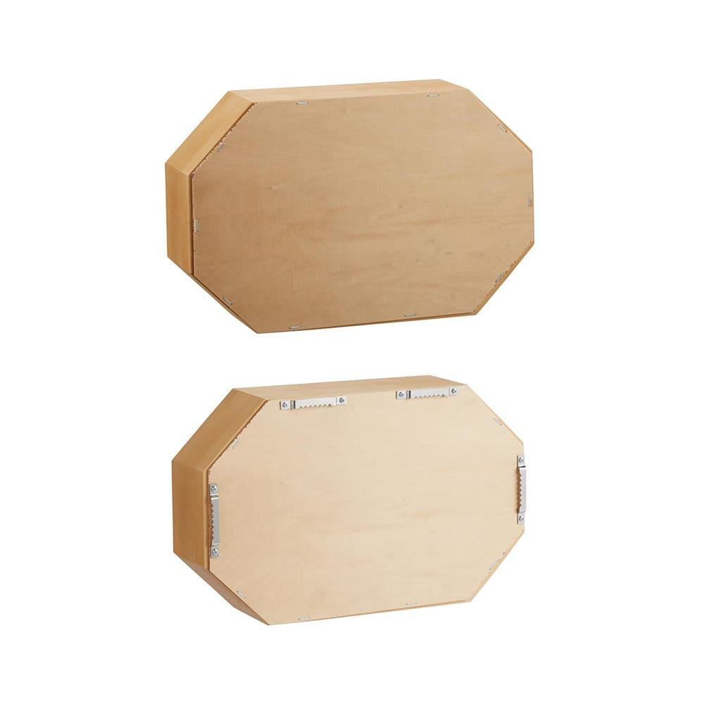 八角形 インテリアフレーム  ミラー 上:置き型(金具なし) 下:掛け型(金具付き)