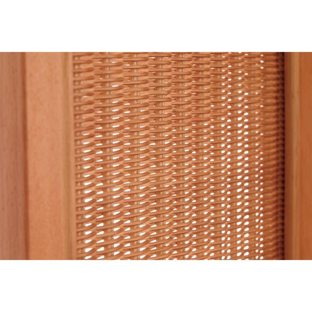 Verde/ベルデ 折り畳みパーテーション 3連 (ア)ナチュラル ラタンの編地も柔らかいナチュラル系のブラウンカラー