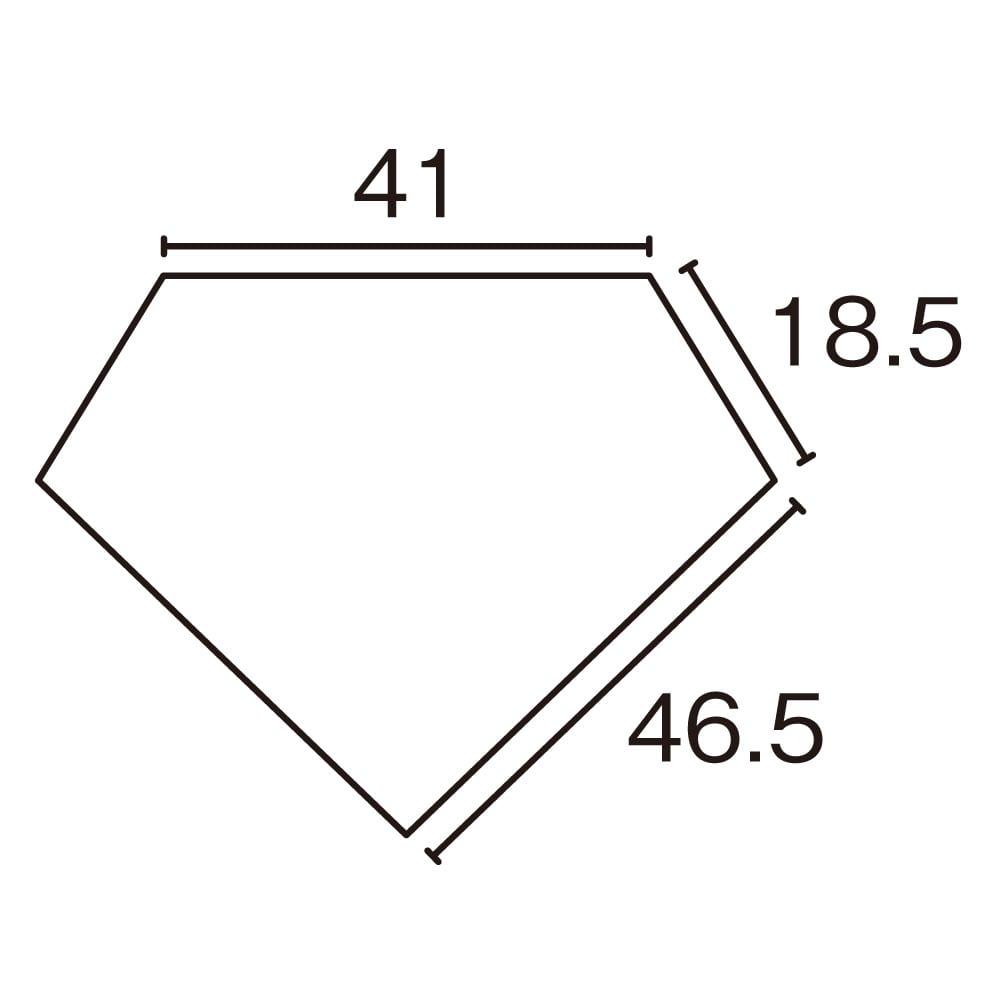 LEDライト付き キュリオコレクションボード コーナータイプ 平面図(cm)