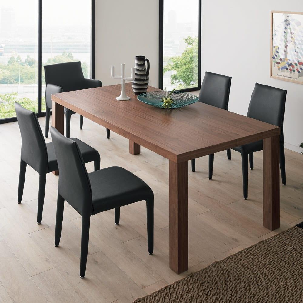 Multi マルチダイニングテーブル ウッドレッグタイプ 幅180cm コーディネート例 (ア)ウォルナット