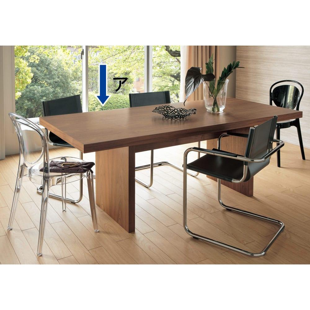 Multi マルチダイニングテーブル パネルレッグタイプ 幅180cm コーディネート例:ウォルナット 重厚感があり高級感があるブラックウォルナット。写真は幅200cmタイプです。