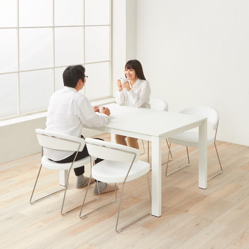 5点セット イタリア製伸長式ダイニングテーブル+NewYorkチェア4脚  テーブル幅130cm(伸長時190cm) テーブル(収納時)