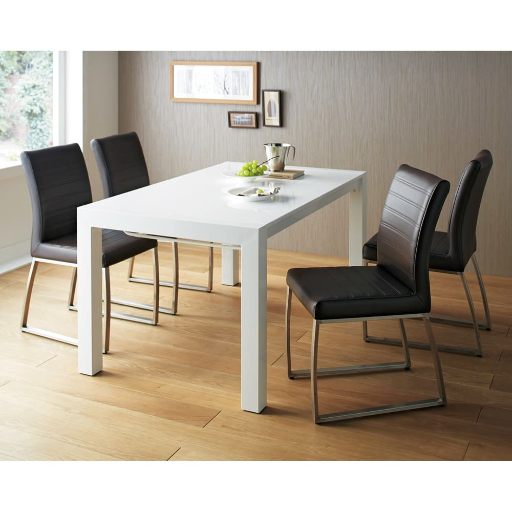 Steady 伸長式ダイニングテーブル 幅140cm・伸長時200cm 通常時(幅140cm)