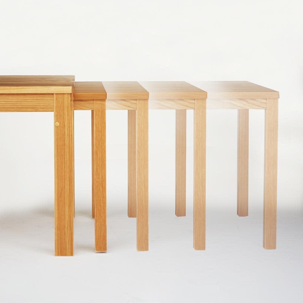 伸長式テーブル幅130~215cm チェア5点セット Vilske/ヴィルスク 伸長式ダイニングシリーズ テーブルはお好みの位置で止める事ができます。