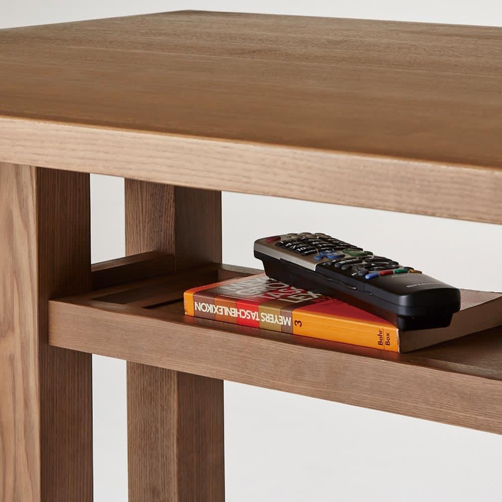 LDテーブル 幅115cm×65cm kokous/ココース LDソファシリーズ テーブル下の棚はリモコンやティッシュボックスなど、普段は使わないものを置いておくのに便利です。