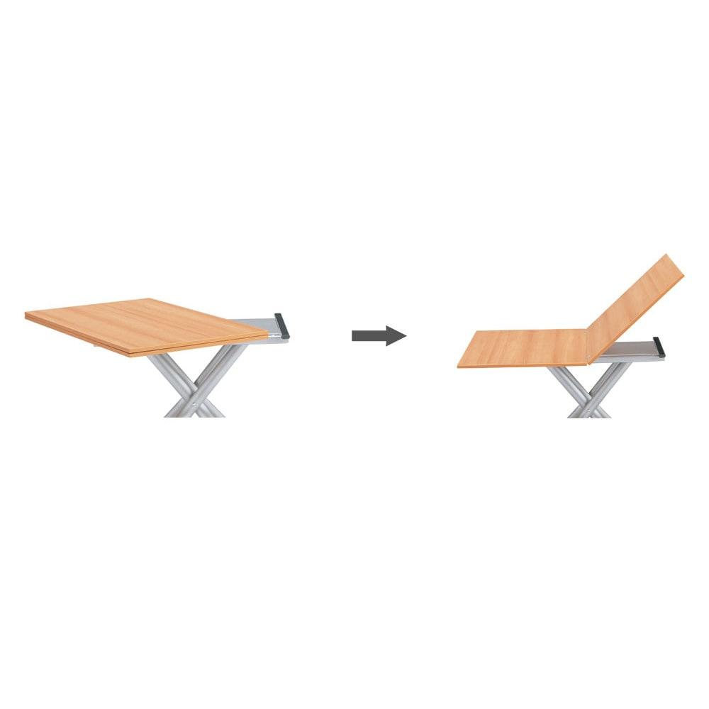 Lift-Up リフトアップ イタリア製昇降エクステンションテーブル[昇降式・伸長式・キャスター付き] テーブル伸長方法 天板をくるりと90度回して開くだけで、簡単に2倍の広さに早変わり。高さ調節もガス圧昇降式でスムーズ。片側のキャスタを浮かせれば移動も簡単です。