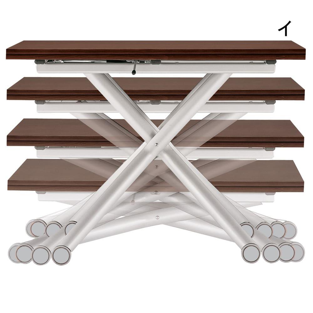 Lift-Up リフトアップ イタリア製昇降エクステンションテーブル[昇降式・伸長式・キャスター付き] 伸長時はソファと天板の距離が近づいて、お食事しやすい。