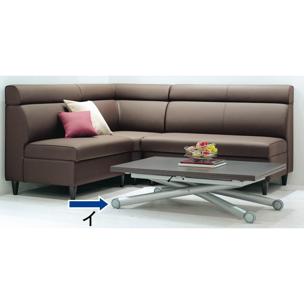 Lift-Up リフトアップ イタリア製昇降エクステンションテーブル[昇降式・伸長式・キャスター付き] ウェンジ 高さが32~76cmに調節でき、ソファにあわせてローテーブルに、高さを上げてダイニングテーブルに。天板は、70cm・140cmと2サイズで使えます。